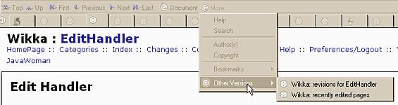 Mozilla 'Other Versions' in link navigation bar